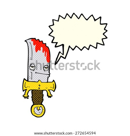 bloody knife cartoon character with speech bubble - stock vector