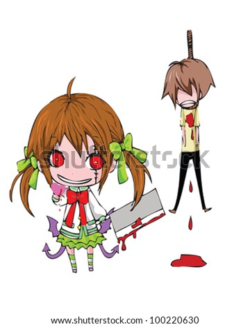 Bloody Valentine 2D. This is one evil way to attain a heart from the one you love...in a valentine day >_< - stock vector