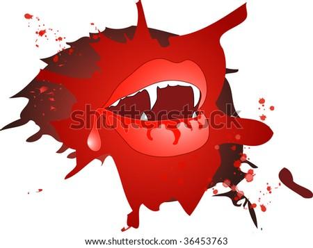 Bloody vampire mouth in vector - stock vector