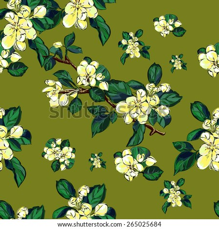 Blooming branches on a green background.Vector seamless pattern. Endless texture can be used for wallpaper, pattern fills, web page background,surface textures. - stock vector