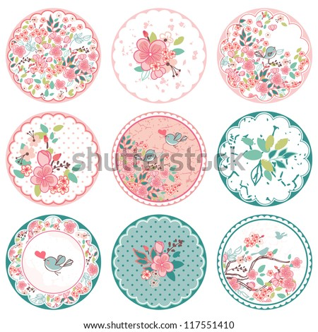 blooming circle tags - stock vector