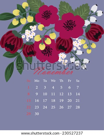 Blooming flowers - a page of floral calendar for the next year