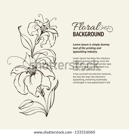 Blooming lilies over sepia background. Vector illustration. - stock vector