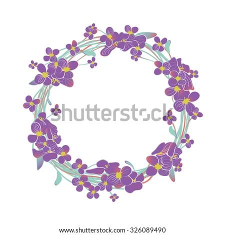 Blooming purple Alyssum flowers wreath - stock vector