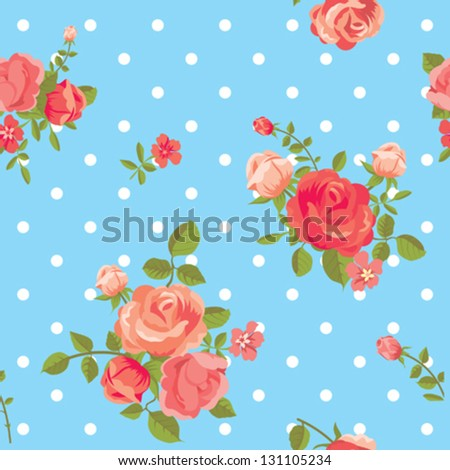 Blooming roses classic dotted seamless pattern - stock vector