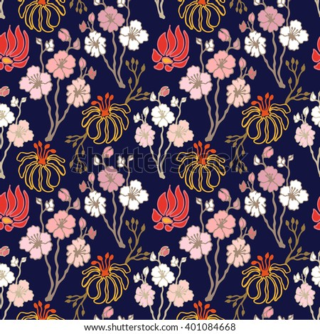 Blooming sakura in Japanese garden. Seamless floral pattern with hand drawn fantasy flowers. Oriental textile collection. Pink, red, golden on dark blue. - stock vector