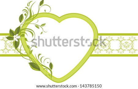 Blooming sprig with heart on the ornamental border. Vector