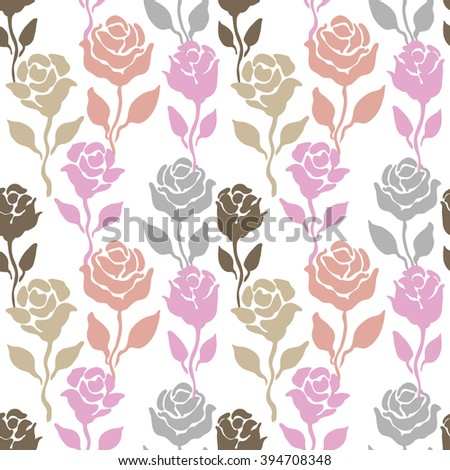 Blooming spring garden. Seamless vintage pattern with hand drawn roses. Retro textile collection. Bohemian motifs, repeat floral print. Grey, beige, pink. - stock vector