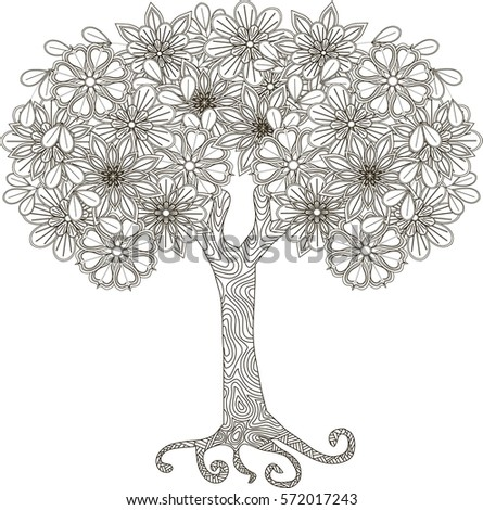 Blooming Tree Coloring Book Antistress Vector Stock Vector (2018 ...