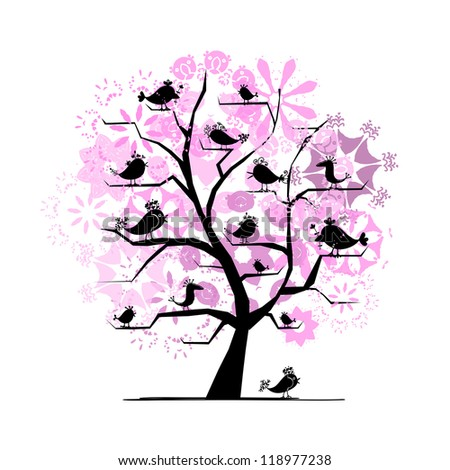 Blooming tree with birds for your design - stock vector