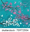 blossom branches with birds and butterflies - stock vector