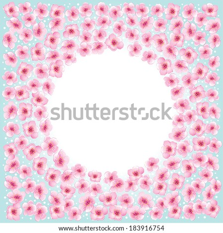 Blossom spring flowers round frame on  blue sky background.  - stock vector