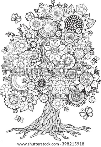Blossom Tree. Vector Elements. Coloring Book For Adult. Doodles For Meditation - stock vector