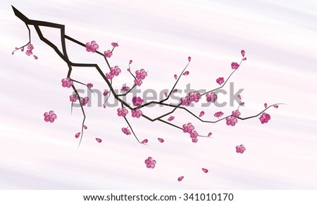 blossoms, stylized branches, vector image / oriental style painting, cherry blossom in spring