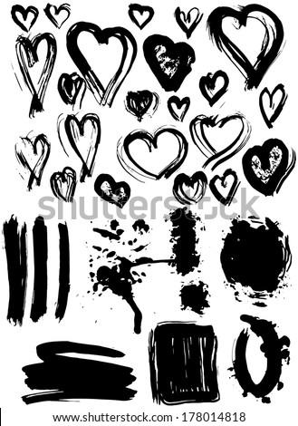 Blots Splash banners and heart set. Grunge texture. vector - stock vector