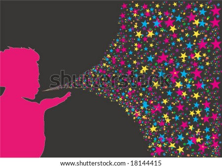 Blow a colorful kiss - stock vector
