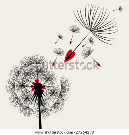 Blow Dandelion - stock vector