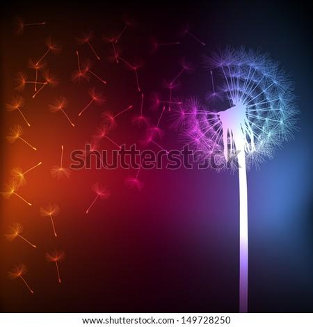 Blow dandelion vector background concept - stock vector