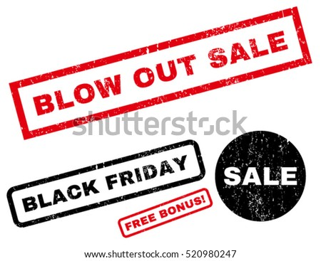 Blow Out Sale rubber seal stamp watermark with additional banners for Black Friday sales. Tag inside rectangular shape with grunge design and dust texture. Vector red and black emblems.