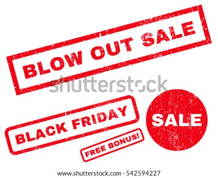 Blow Out Sale rubber seal stamp watermark with additional images for Black Friday offers. Vector red signs. Caption inside rectangular banner with grunge design and unclean texture.