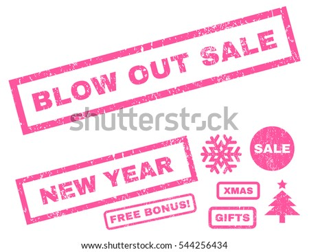 Blow Out Sale rubber seal stamp watermark with bonus images for Christmas and New Year sales. Caption inside rectangular shape with grunge design and scratched texture. Vector pink stickers.