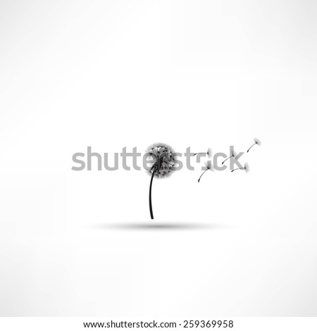 blowing dandelion vector - stock vector
