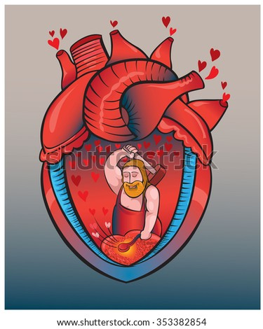 Blows of heart in beat works of the smith.vector - stock vector