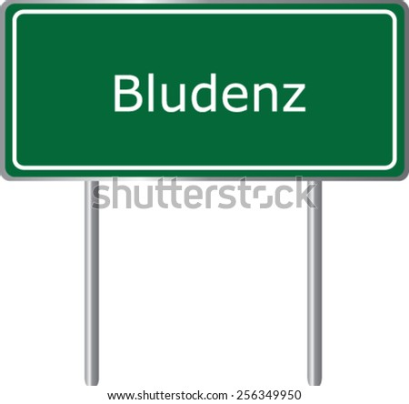 Bludenz, Austria, road sign green vector illustration, road table - stock vector