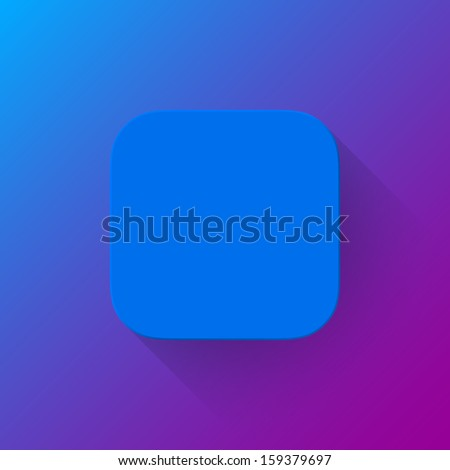 Blue abstract app icon, blank button template with flat designed shadow and gradient background for internet sites, web user interfaces (UI) and applications (apps). Vector illustration.