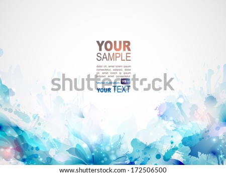 blue abstract background forming by blots and design elements - stock vector