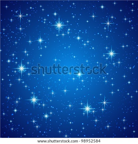 Blue Abstract background. Night sky with stars. Vector illustration - stock vector
