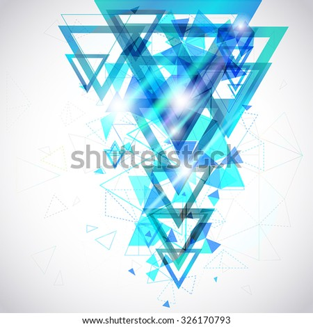 Blue Abstract background of hexagon and triangle geometric geometry polygon and element shape for poster and website decoration design, create by vector
