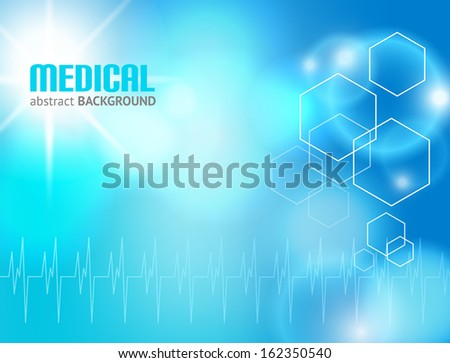 Blue abstract background suitable for materials about health-care and medical topics - stock vector