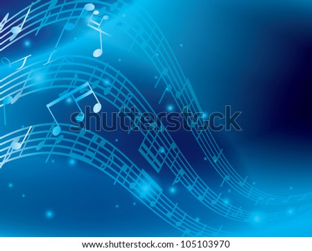 blue abstract background with music notes - vector - stock vector