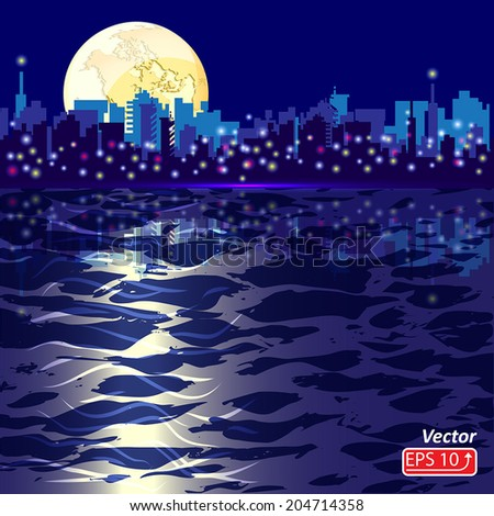 blue abstract background with silhouette of city sea yellow planet earth vector - stock vector