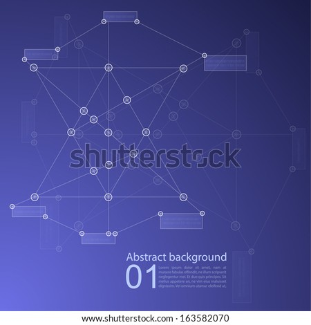 Blue Abstract  Background with transparent Mesh and glowing lines, circles and shapes. Techno design. vector