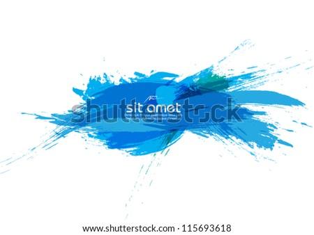 blue abstract banner vector brush stroke illustration - stock vector