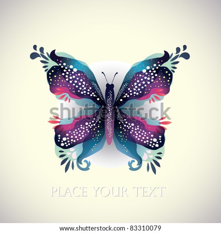Blue Abstract Butterfly - stock vector