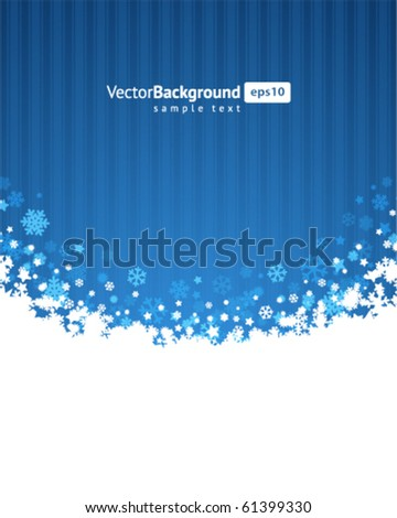 Blue abstract christmas background with 3d snowflake - stock vector