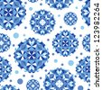 Blue abstract circles seamless pattern background - stock vector
