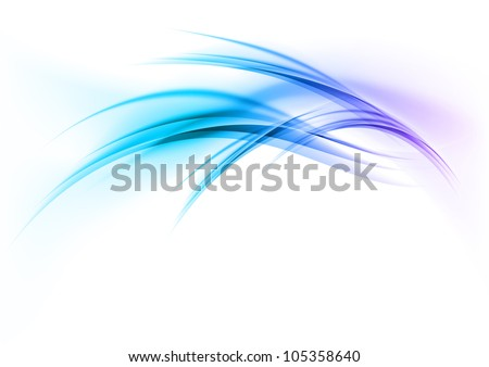 blue abstract curves on the white background - stock vector