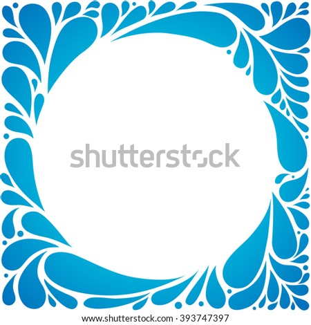 Blue abstract floral background. Round shape. Vector illustration