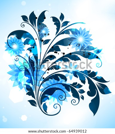 Blue abstract flower for abstract design