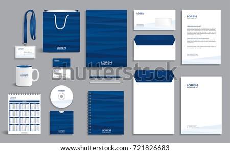 Blue Abstract Geometric Corporate Identity Design Stock Vector ...