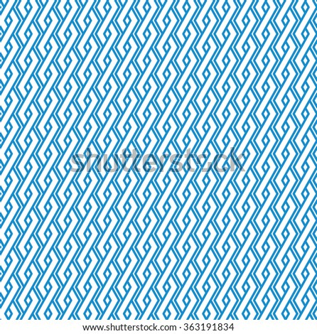 Blue abstract geometric seamless pattern with interweave lines. Vector vertical ornament wallpaper. Endless decorative background. Light ornate backdrop with rhombs. - stock vector