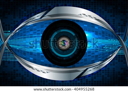 Blue abstract hi speed internet technology background illustration. eye scan virus computer. vector