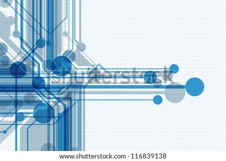 Blue abstract horizontal background with geometrical linear elements. Eps10 - stock vector