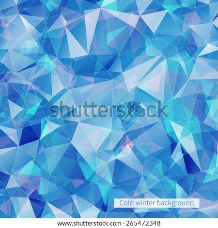 Blue abstract ice banner with triangles for your design. Vector.