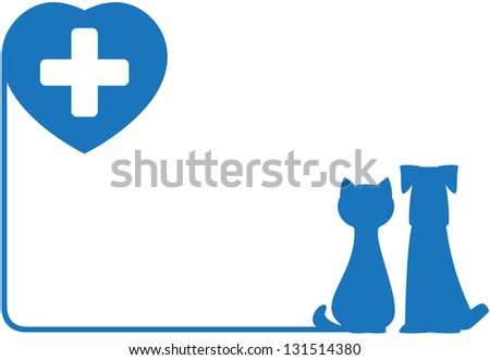 blue abstract icon with dog, cat and heart