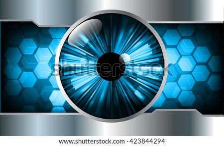 blue abstract light hi speed internet technology background illustration, Background conceptual image of digital. eye scan virus computer. motion move graphic, vector. Hexagon pixel